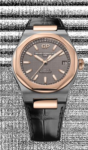 81010-26-232-BB6A : Girard-Perregaux Laureato 42 Automatic Titanium / Pink Gold / Grey / Alligator