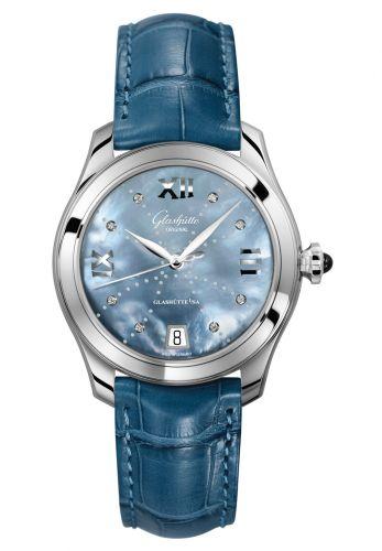 Glashütte Original 1-39-22-11-02-44 : Lady Serenade Stainless Steel / Blue MOP - Index Line / Alligator / Pin
