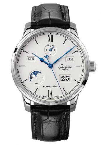 Glashütte Original 1-36-02-01-02-01 : Senator Excellence Perpetual Calendar Stainless Steel / Silver / Alligator / Pin