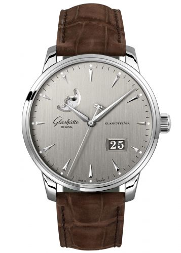 Glashütte Original 1-36-04-03-02-51 : Senator Excellence Panorama Date Moonphase Stainless Steel / Grey / Alligator / Folding
