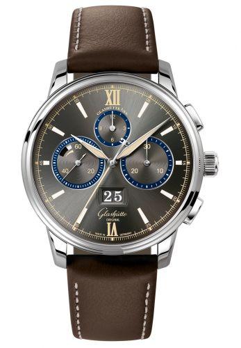 Glashütte Original 1-37-01-04-02-55 : Senator Chronograph Panorama Date Capital Edition Stainless Steel / Grey / Calf / Folding