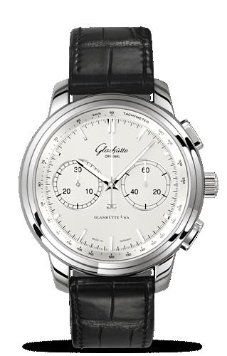 Glashütte Original 1-39-34-21-42-04 : Senator Chronograph XL Silver