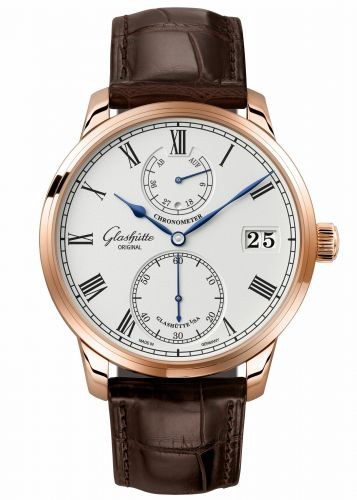 1-58-01-02-05-50 : Glashütte Original Senator Chronometer Red Gold / Silver / Alligator / Folding