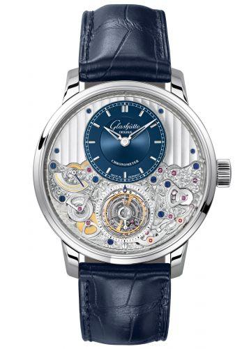 Glashütte Original 1-58-05-01-03-30 : Senator Chronometer Tourbillon Platinum / Blue / Alligator / Folding