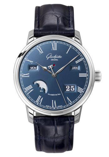 Glashütte Original 100-02-07-12-01 : Senator Perpetual Calendar Stainless Steel / Blue / Alligator / Pin