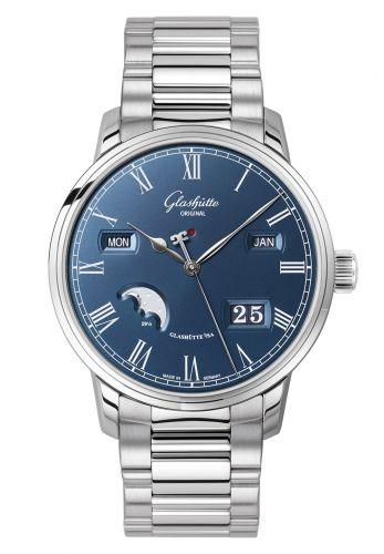 Glashütte Original 100-02-07-12-70 : Senator Perpetual Calendar Stainless Steel / Blue / Bracelet