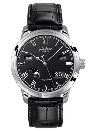 Glashütte Original 100-02-25-12-01 : Senator Perpetual Calendar Stainless Steel / Black / Alligator / Pin