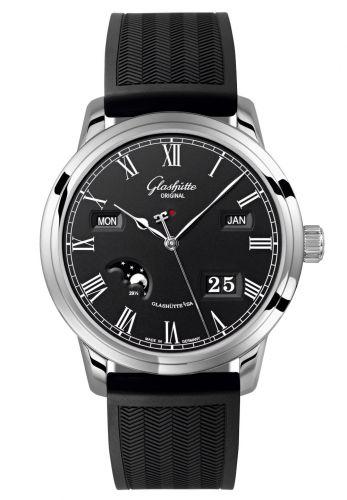 Glashütte Original 100-02-25-12-04 : Senator Perpetual Calendar Stainless Steel Black / Rubber / Folding