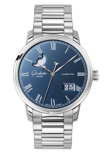 Glashütte Original 100-04-05-12-70 : Senator Panorama Date Moonphase Stainless Steel / Blue / Bracelet
