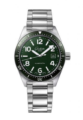 Glashütte Original 1-39-11-13-83-70 : SeaQ Date Stainless Steel / Green / Bracelet