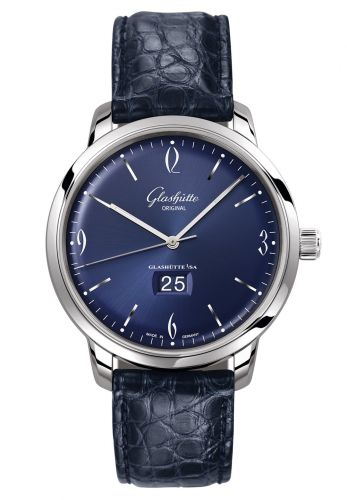 Glashütte Original 2-39-47-06-02-04 : Sixties Panorama Date Stainless Steel / Blue / Alligator / Pin