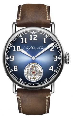 H. Moser & Cie 8804-1200 : Heritage Tourbillon Stainless Steel / Funky Blue
