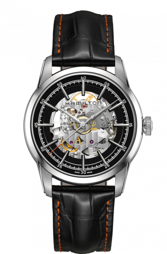 H40655731 : Hamilton Railroad Skeleton Automatic Steel / Black