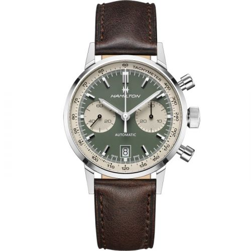 Hamilton H38416560 : Intra-Matic 68 Auto Chrono Stainless Steel / Green / Strap