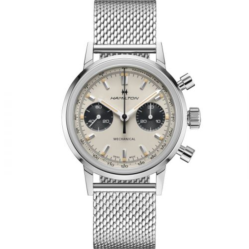 Hamilton H38429110 : Intra-Matic Chronograph H Stainless Steel / White / Mesh