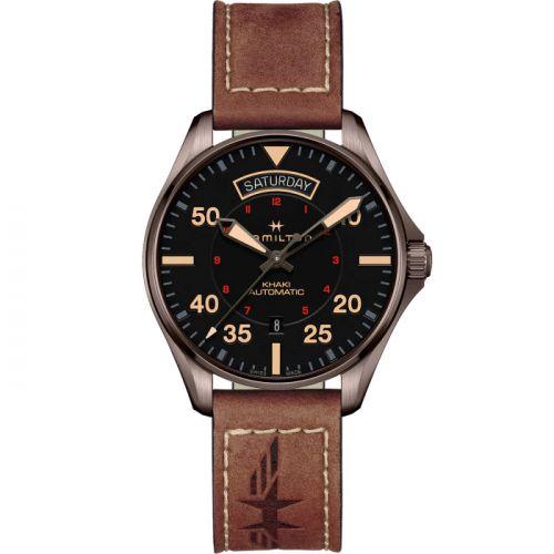 Hamilton H64605531 : Khaki Pilot Day Date PVD / Black