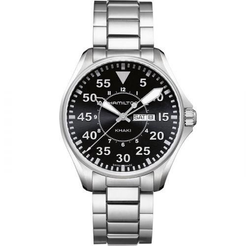 Hamilton H64611135 : Khaki Pilot Day Date Quartz Black / Bracelet