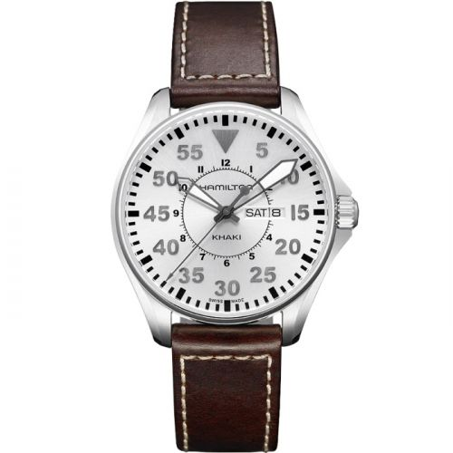 Hamilton H64611555 : Khaki Aviation Pilot Day Date Quartz Silver
