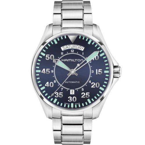 Hamilton H64615145 : Khaki Pilot Day Date Blue / Bracelet