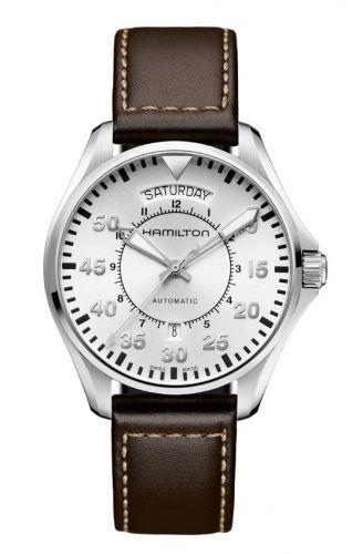 Hamilton H64615555 : Khaki Pilot Day Date Silver / Strap