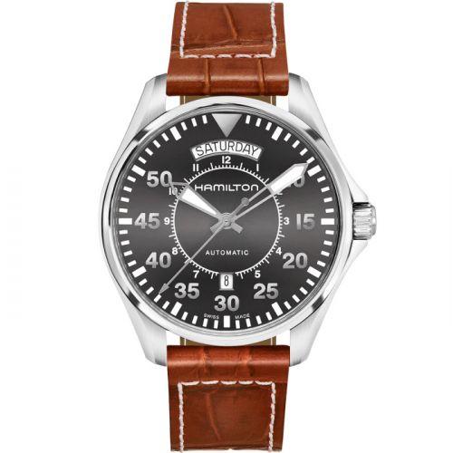 Hamilton H64615585 : Khaki Pilot Day Date Grey / Strap