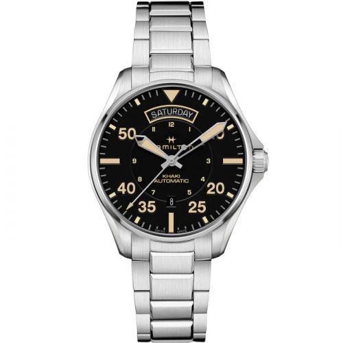 Hamilton H64645131 : Khaki Pilot Day Date Stainless Steel / Black / Bracelet