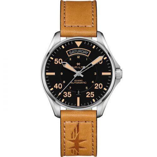 Hamilton H64645531 : Khaki Pilot Day Date Stainless Steel / Black