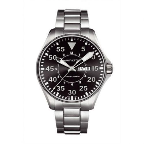 Hamilton H64715135 : Khaki Aviation Pilot Day Date Auto Black / Bracelet