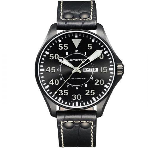 Hamilton H64785835 : Khaki Aviation Pilot Day Date Auto Black