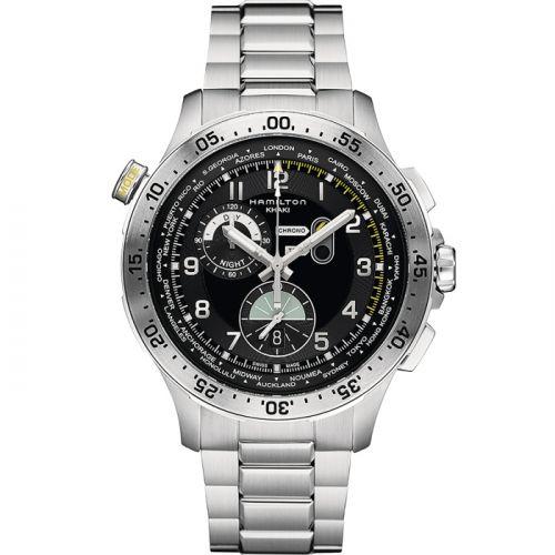Hamilton H76714135 : Khaki Pilot Chrono Worldtimer Bracelet