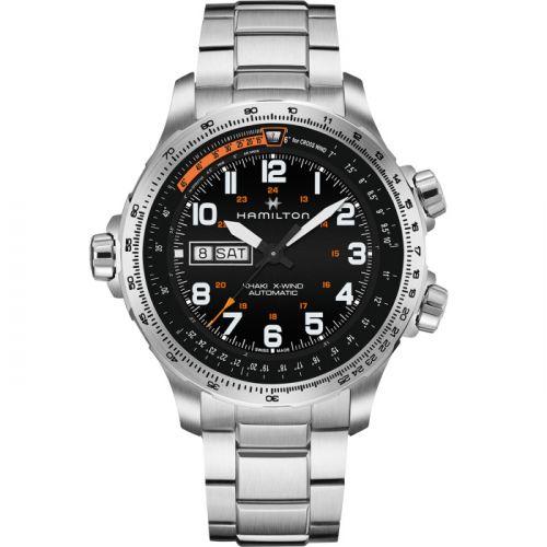 Hamilton H77755133 : Khaki Aviation X Wind Day Date Auto Black / Bracelet