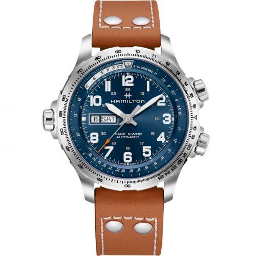 Hamilton H77765541 : Khaki Aviation X Wind Day Date Auto Blue