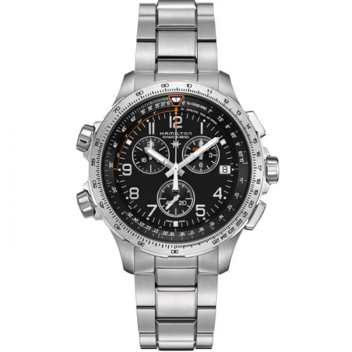 Hamilton H77912135 : Khaki Aviation X-Wind GMT Chrono Quartz Black / Bracelet