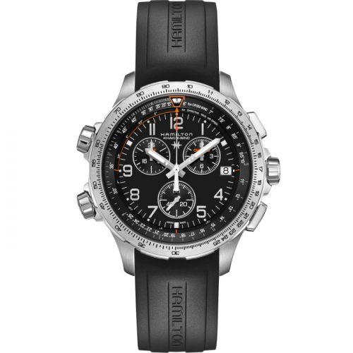 Hamilton H77912335 : Khaki Aviation X-Wind GMT Chrono Quartz Black / Rubber