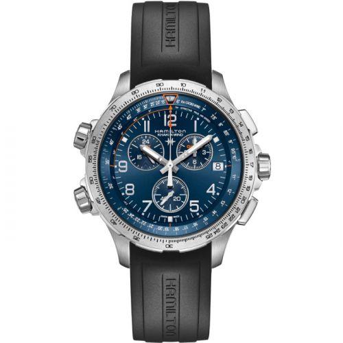 Hamilton H77922341 : Khaki Aviation X-Wind GMT Chrono Quartz Blue / Rubber