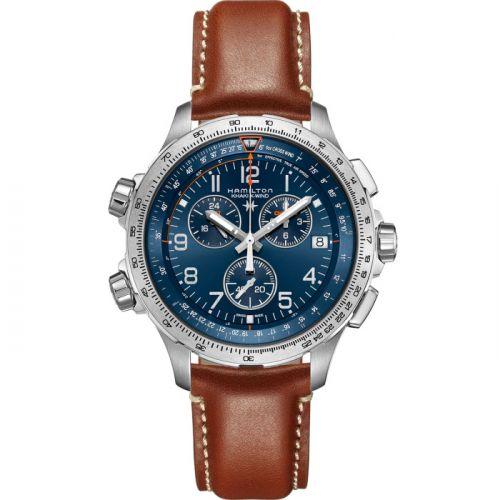Hamilton H77922541 : Khaki Aviation X-Wind GMT Chrono Quartz Blue