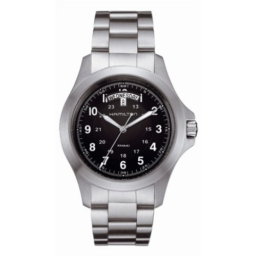 Hamilton H64451133 : Khaki Field King Quartz 40 Stainless Steel / Black / Bracelet