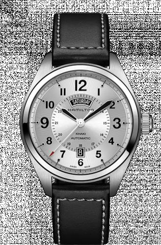 Hamilton H70505753 : Khaki Field Day Date Auto Silver / Leather