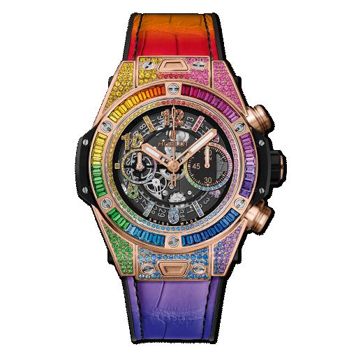 Hublot 411.OX.9910.LR.0999 : Big Bang Unico 45 King Gold / Rainbow