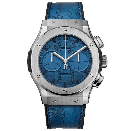 Hublot 521.NX.050B.VR.BER18 : Classic Fusion 45 Chronograph Berluti Scritto Ocean Blue