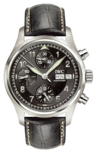 IWC IW3706-12 : Pilot's Watch Spitfire Chronograph Stainless Steel / Black / Italian / Strap