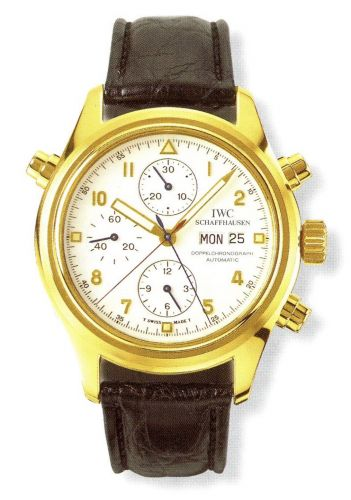 IWC IW3711-09 : Pilot's Watch Doppelchronograph Yellow Gold / White / German / Strap