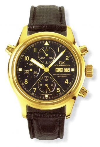 IWC IW3711-13 : Pilot's Watch Doppelchronograph Yellow Gold / Black / German / Strap