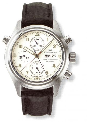 IWC IW3711-24 : Pilot's Watch Doppelchronograph Platinum / White / French / Strap