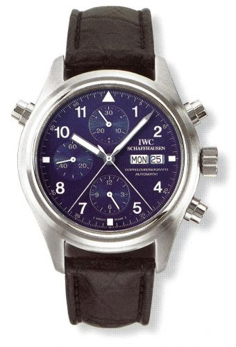 IWC IW3711-28 : Pilot's Watch Doppelchronograph Platinum / Blue / French / Strap
