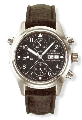 IWC IW3713-02 : Pilot's Watch Doppelchronograph Stainless Steel / Black / Italian / Strap