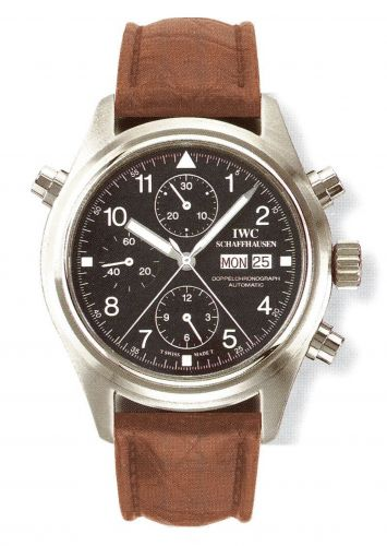 IWC IW3713-08 : Pilot's Watch Doppelchronograph Stainless Steel / Black / French / Strap