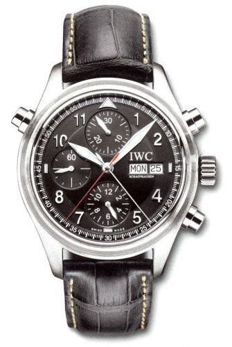 IWC IW3713-31 : Pilot's Watch Spitfire Double Chronograph Stainless Steel / Black / German / Strap