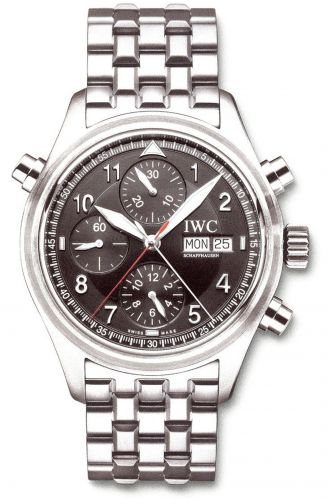 IWC IW3713-37 : Pilot's Watch Spitfire Double Chronograph Stainless Steel / Black / Italian / Bracelet