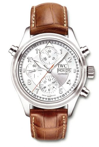 IWC IW3713-42 : Pilot's Watch Spitfire Double Chronograph Stainless Steel / Silver / Italian / Strap